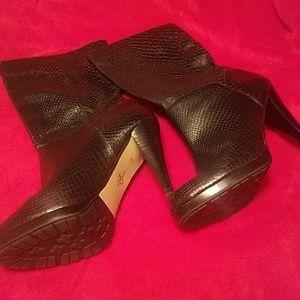Cole Haan Black Snakeskin Boots